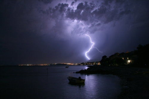 Photo of an electrical storm taken by S.R.S. Barnes